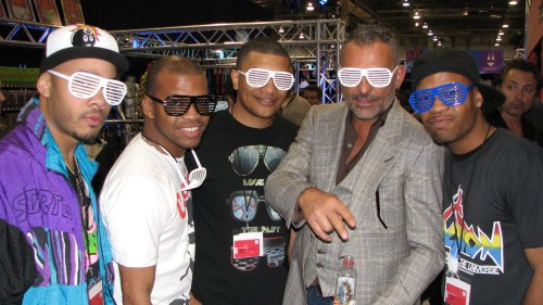 Christian Audigier poses with the Shutter Shades Crew at Project Las Vegas.